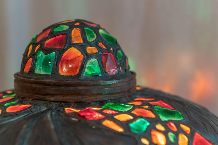Large Austrian Secessionist/Arts &Crafts Chunk Jewel Table Lamp, ca. 1900 In Good Condition For Sale In Petaluma, CA