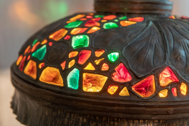 20th Century Large Austrian Secessionist/Arts &Crafts Chunk Jewel Table Lamp, ca. 1900 For Sale