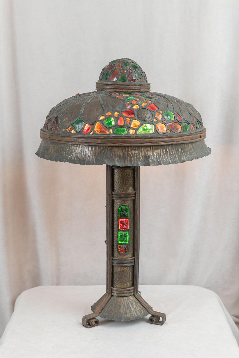 Large Austrian Secessionist/Arts &Crafts Chunk Jewel Table Lamp, ca. 1900 For Sale 2