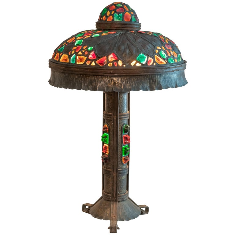 Large Austrian Secessionist/Arts &Crafts Chunk Jewel Table Lamp, ca. 1900 For Sale