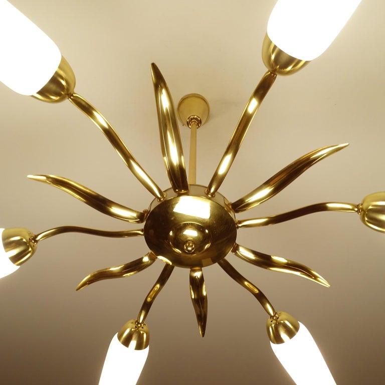 Large  Italian Sunburst Brass Glass Chandelier, Stilnovo Gio Ponti Era For Sale 4