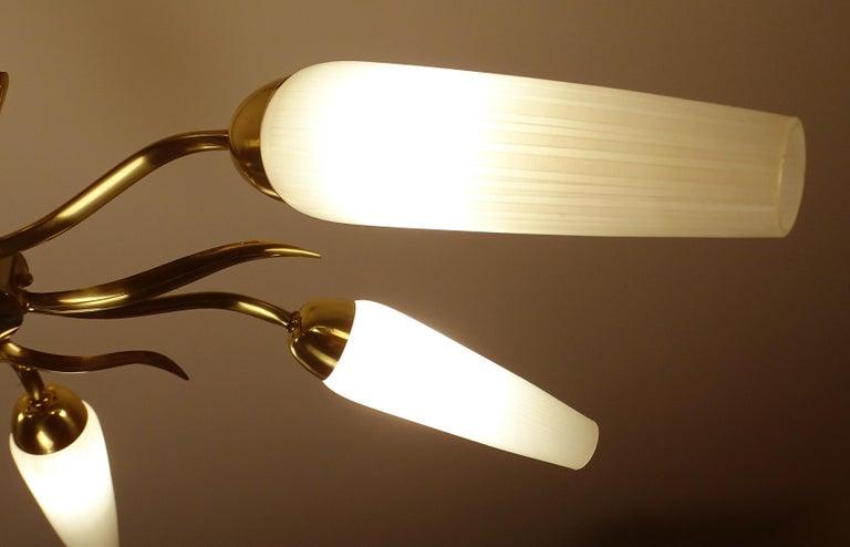 Large  Italian Sunburst Brass Glass Chandelier, Stilnovo Gio Ponti Era For Sale 8