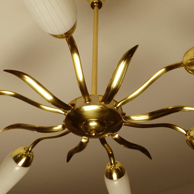 Large  Italian Sunburst Brass Glass Chandelier, Stilnovo Gio Ponti Era For Sale 10