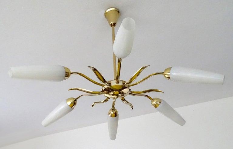 Mid-20th Century Large  Italian Sunburst Brass Glass Chandelier, Stilnovo Gio Ponti Era For Sale