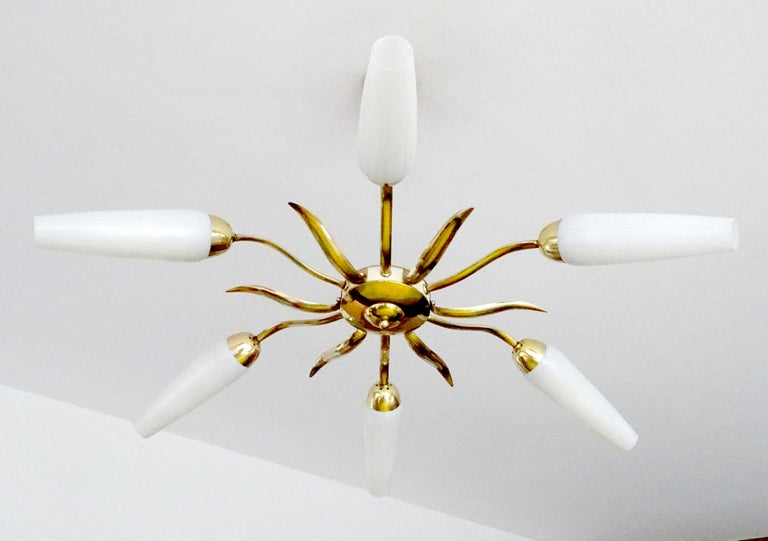 Mid-Century Modern Large  Italian Sunburst Brass Glass Chandelier, Stilnovo Gio Ponti Era For Sale