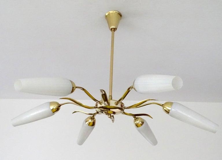 Large  Italian Sunburst Brass Glass Chandelier, Stilnovo Gio Ponti Era For Sale 1