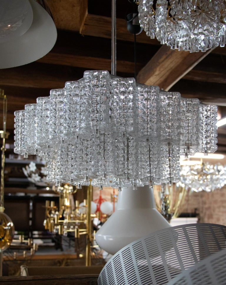 Square Chandelier Glass & Chrome by Austrolux, Vienna, 1960s For Sale 1