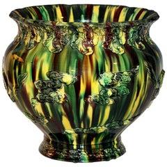 Large Awaji Pottery Japanese Sancai Flambe Jardiniere Planter Bowl