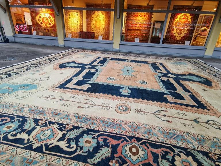 Large Azeri Heriz Rug Oversized Persian Bakhshaish Style Hand Knotted For Sale 2