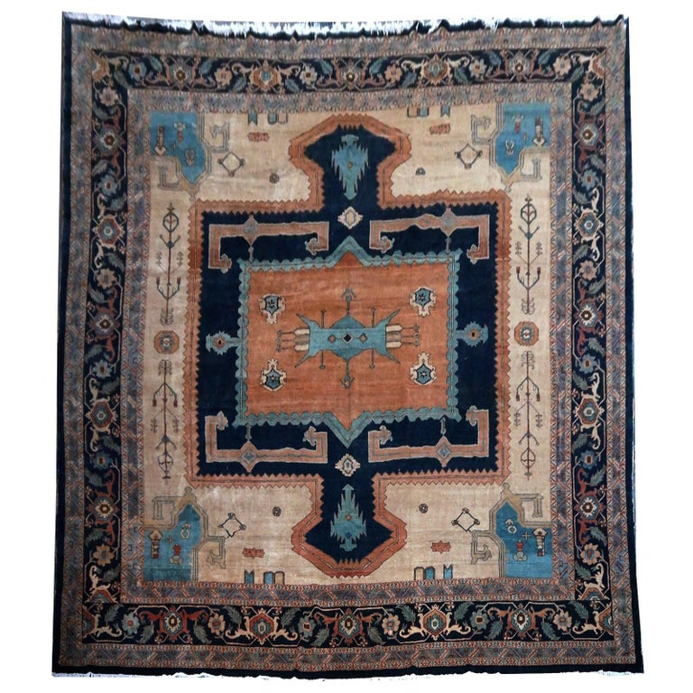 A large sized Turkish Azeri rug with Heriz Bakhshaish design. The pile is made of high end quality wool - hand spun, hand dyed with all vegetable dyes and knotted by master weavers. The rug is very decorative and almost square. The condition is