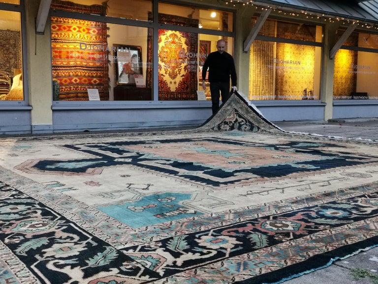 Heriz Serapi Large Azeri Heriz Rug Oversized Persian Bakhshaish Style Hand Knotted For Sale