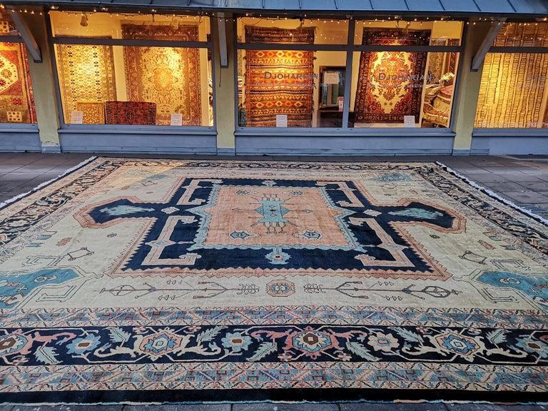 Turkish Large Azeri Heriz Rug Oversized Persian Bakhshaish Style Hand Knotted For Sale