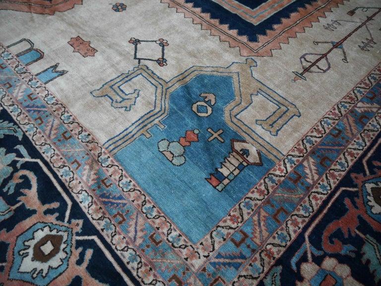 Wool Large Azeri Heriz Rug Oversized Persian Bakhshaish Style Hand Knotted For Sale