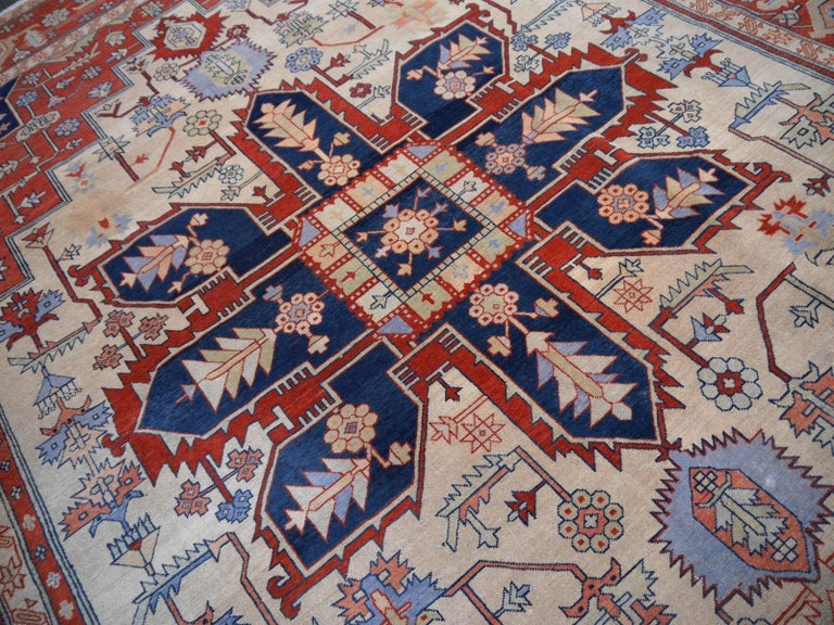 Large Azeri Heriz Rug Oversized Persian Serapi Style, Hand Knotted For Sale 2