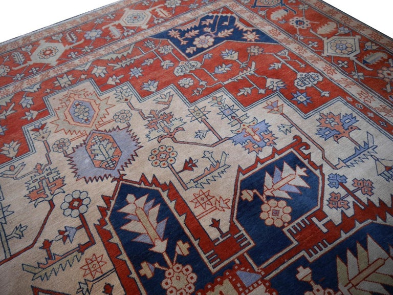 Large Azeri Heriz Rug Oversized Persian Serapi Style, Hand Knotted For Sale 4