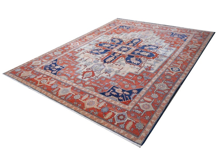 Large Azeri Heriz Rug Oversized Persian Serapi Style, Hand Knotted For Sale 6