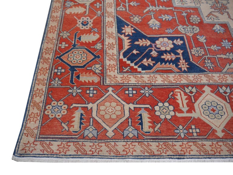 Large Azeri Heriz Rug Oversized Persian Serapi Style, Hand Knotted For Sale 7