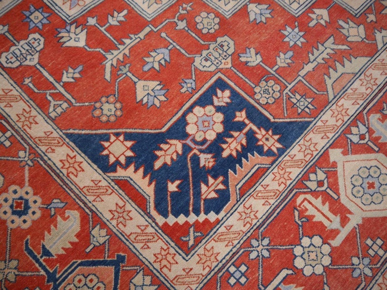 Large Azeri Heriz Rug Oversized Persian Serapi Style, Hand Knotted For Sale 8