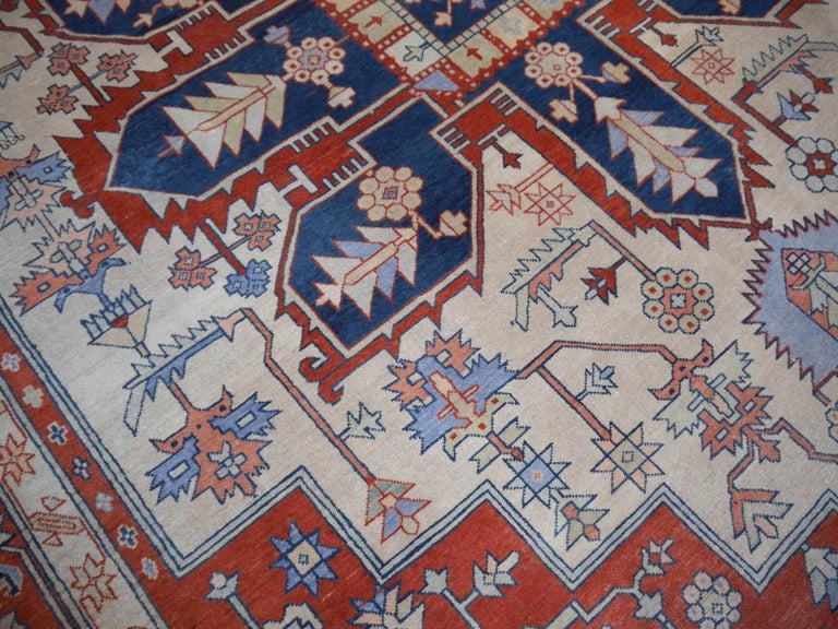 Large Azeri Heriz Rug Oversized Persian Serapi Style, Hand Knotted For Sale 9