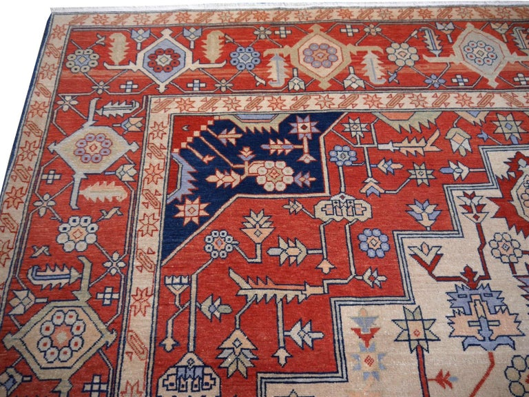 Large Azeri Heriz Rug Oversized Persian Serapi Style, Hand Knotted For Sale 11