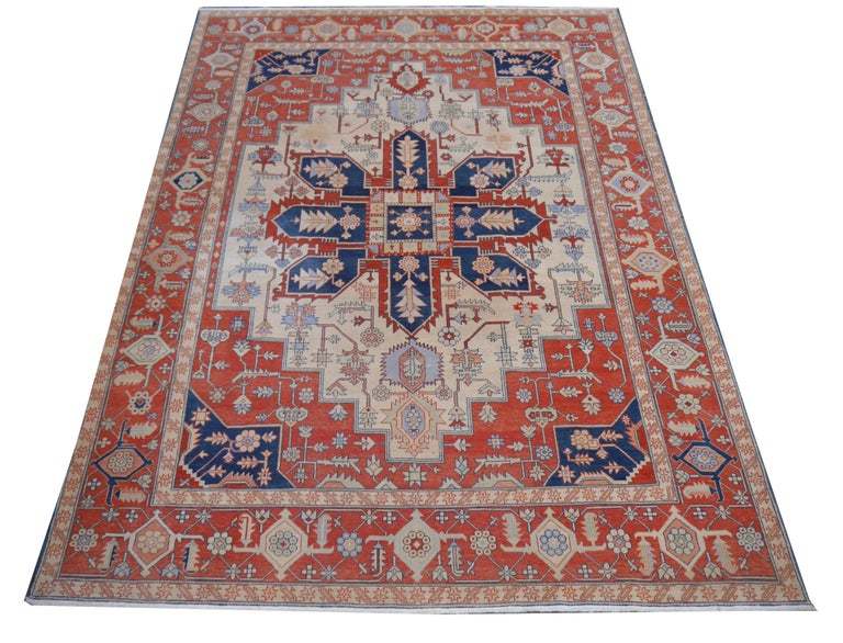 A large sized Azeri Heriz Serapi rug. The pile is made of high end quality wool - hand spun, hand dyed with all vegetable dyes and knotted by master weavers. The rug is very dense and heavy, about 65 kg or 142 lb. The condition is exquisite. The rug