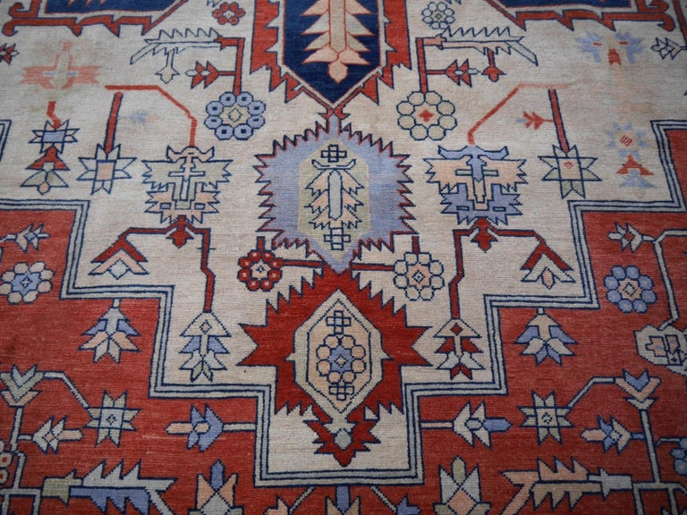 Hand-Woven Large Azeri Heriz Rug Oversized Persian Serapi Style, Hand Knotted For Sale