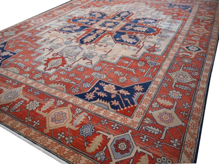 20th Century Large Azeri Heriz Rug Oversized Persian Serapi Style, Hand Knotted For Sale