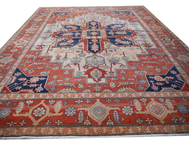Wool Large Azeri Heriz Rug Oversized Persian Serapi Style, Hand Knotted For Sale