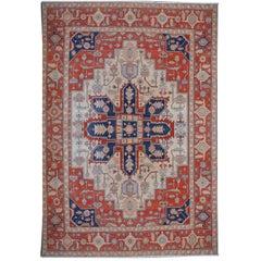 Large Azeri Heriz Rug Oversized Persian Serapi Style, Hand Knotted