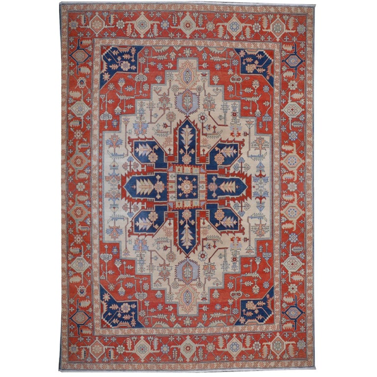 Large Azeri Heriz Rug Oversized Persian Serapi Style, Hand Knotted For Sale