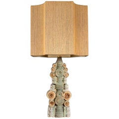 Large B. Rooke Ceramic Table Lamp with Custom Made Silk Lampshade by René Houben