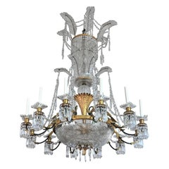 Large Baccarat Neoclassical Crystal and Ormolu Chandelier