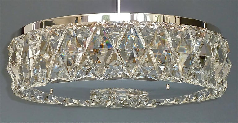 Large Bakalowits Chandelier Silver Brass Crystal Glass Faceted 1950s Lobmeyr For Sale 2