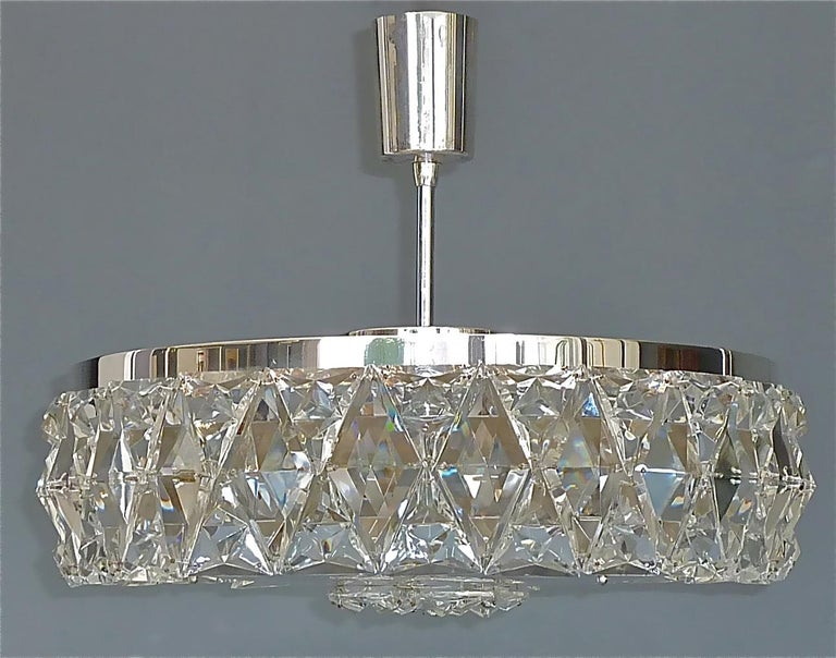 Large Bakalowits Chandelier Silver Brass Crystal Glass Faceted 1950s Lobmeyr For Sale 3