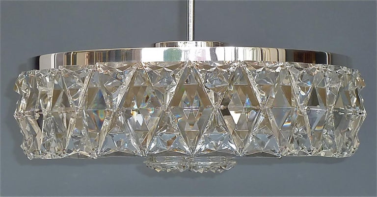 Large Bakalowits Chandelier Silver Brass Crystal Glass Faceted 1950s Lobmeyr For Sale 4