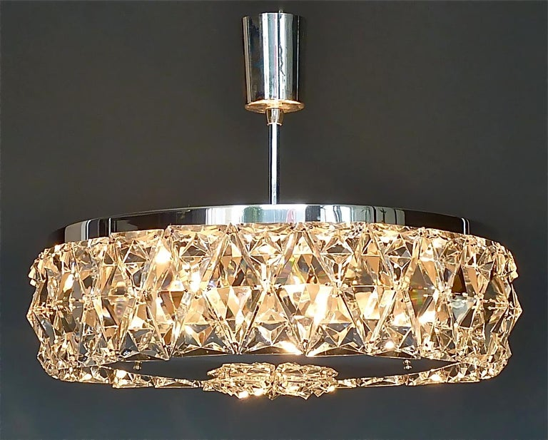 Large Bakalowits Chandelier Silver Brass Crystal Glass Faceted 1950s Lobmeyr For Sale 8