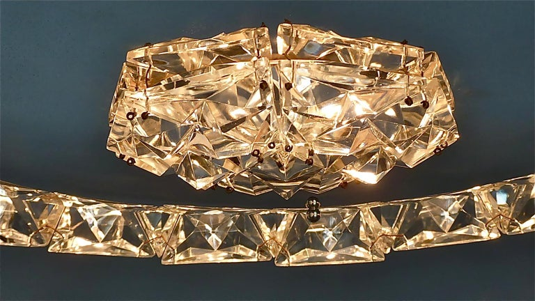 Large Bakalowits Chandelier Silver Brass Crystal Glass Faceted 1950s Lobmeyr For Sale 9