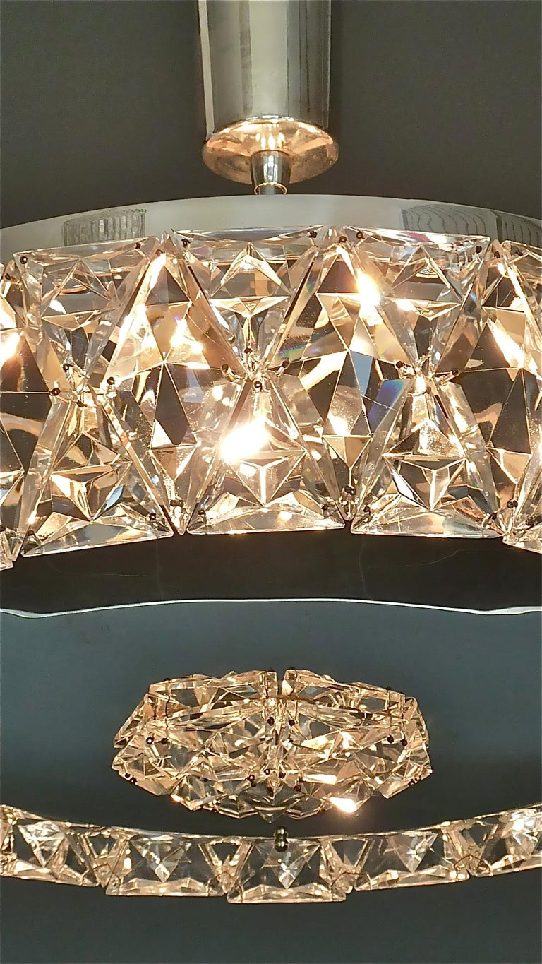 Large Bakalowits Chandelier Silver Brass Crystal Glass Faceted 1950s Lobmeyr For Sale 10