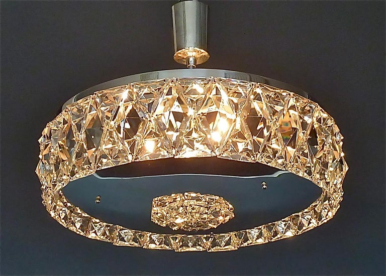 Large Bakalowits Chandelier Silver Brass Crystal Glass Faceted 1950s Lobmeyr For Sale 11