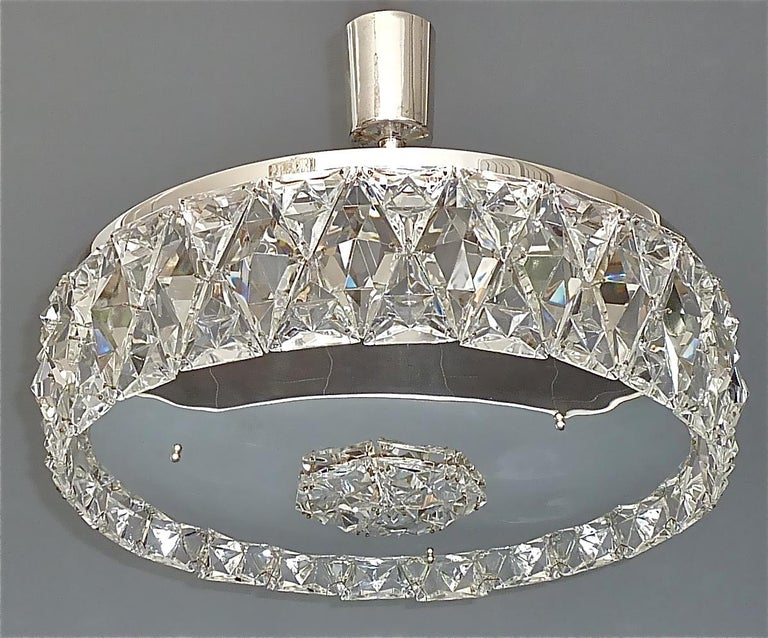 Large Bakalowits Chandelier Silver Brass Crystal Glass Faceted 1950s Lobmeyr For Sale 12