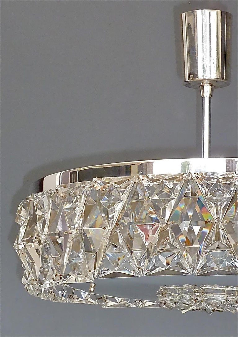 Austrian Large Bakalowits Chandelier Silver Brass Crystal Glass Faceted 1950s Lobmeyr For Sale