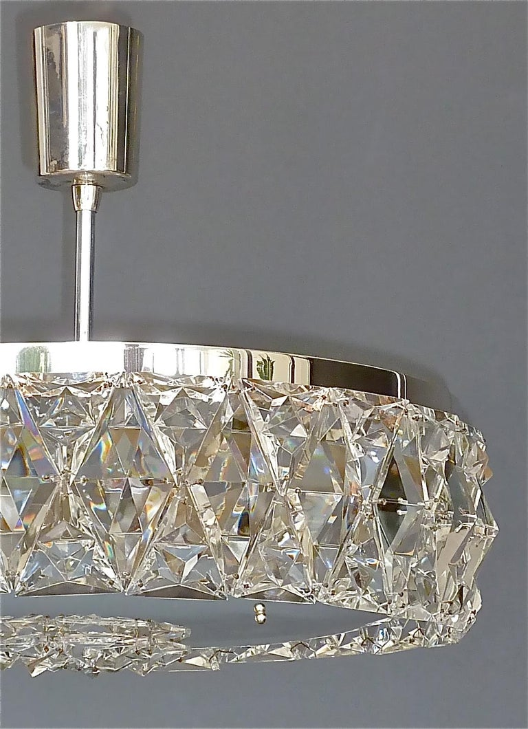 Silvered Large Bakalowits Chandelier Silver Brass Crystal Glass Faceted 1950s Lobmeyr For Sale
