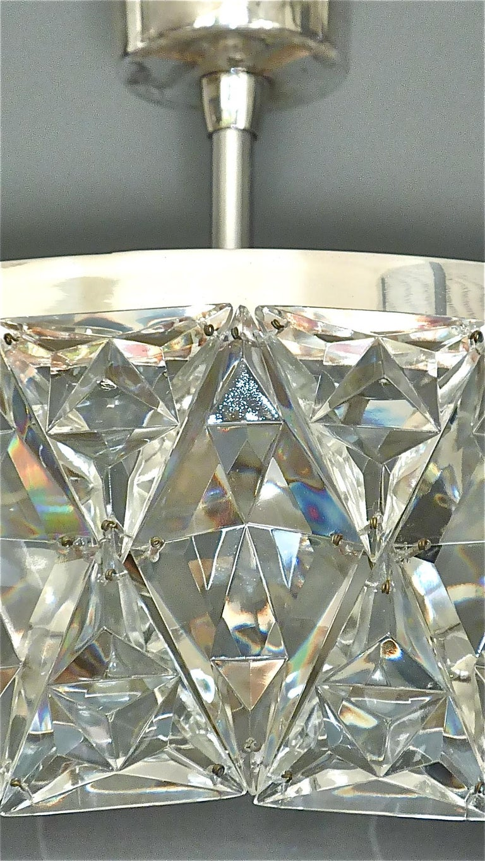 Large Bakalowits Chandelier Silver Brass Crystal Glass Faceted 1950s Lobmeyr In Good Condition For Sale In Nierstein am Rhein, DE