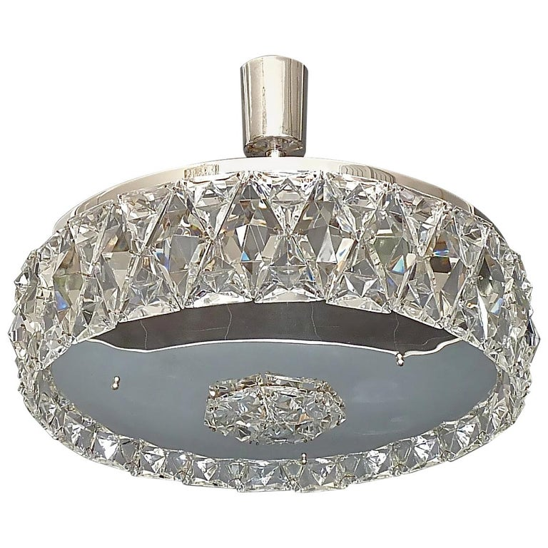 Large Bakalowits Chandelier Silver Brass Crystal Glass Faceted 1950s Lobmeyr For Sale