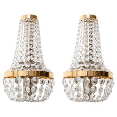 Large Bakalowits Wall Lights Sconces, Brass Nickel Crystal, Austria, 1950s, Pair