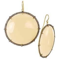 Sylva & Cie Large Ivory Bakelite Disc Earrings with Diamonds in 18k Yellow Gold