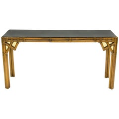 Large Bamboo and Brass Italian Console Table Black Glass Top, 1970s
