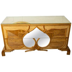 Large Bamboo and Reed Two-Drawer Mirrored Front Detail with Glass Top