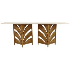 Large Bamboo and Travertine Console, circa 1970, Italy