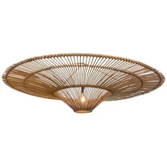 Large Bamboo Umbrella Shaped Chandelier, Indonesia, Contemporary